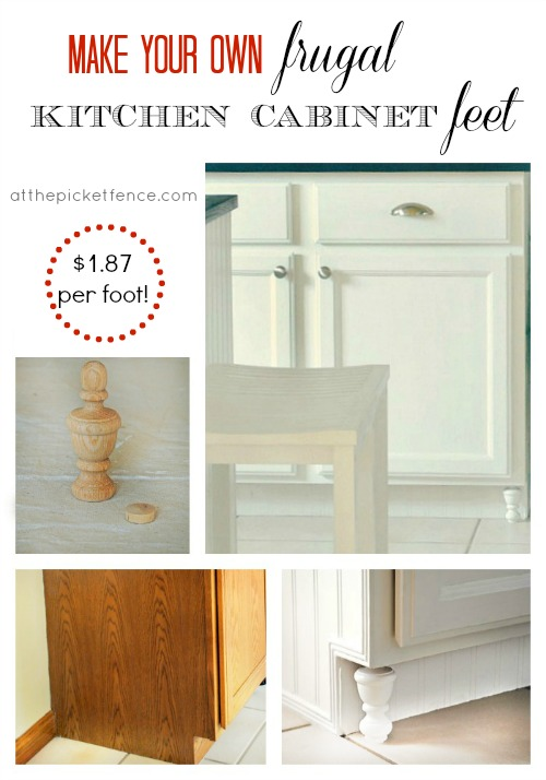 Make your own frugal kitchen cabinet feet from atthepicketfence.com