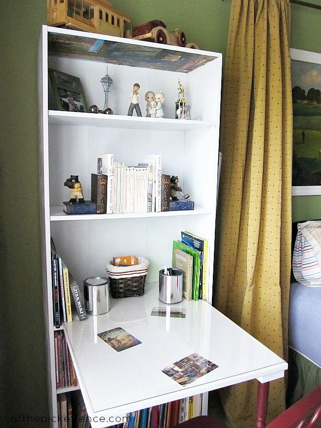 diy bookcase turned desk at the picket fence