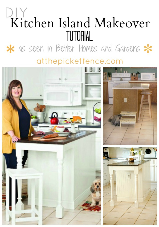 Kitchen Island Makeover as seen in BHG from At The Picket Fence