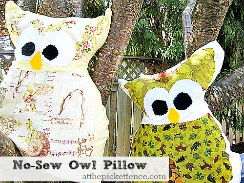 No-Sew Owl Pillow from atthepicketfence.com