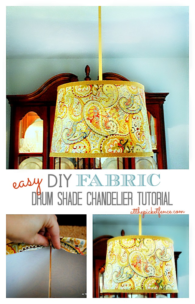 DIY Fabric Drum Shade Chandelier Tutorial www.atthepicketfence.com