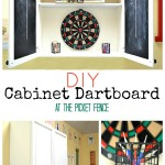 DIY Dartboard from Kitchen Cabinet www.atthepicketfence.com