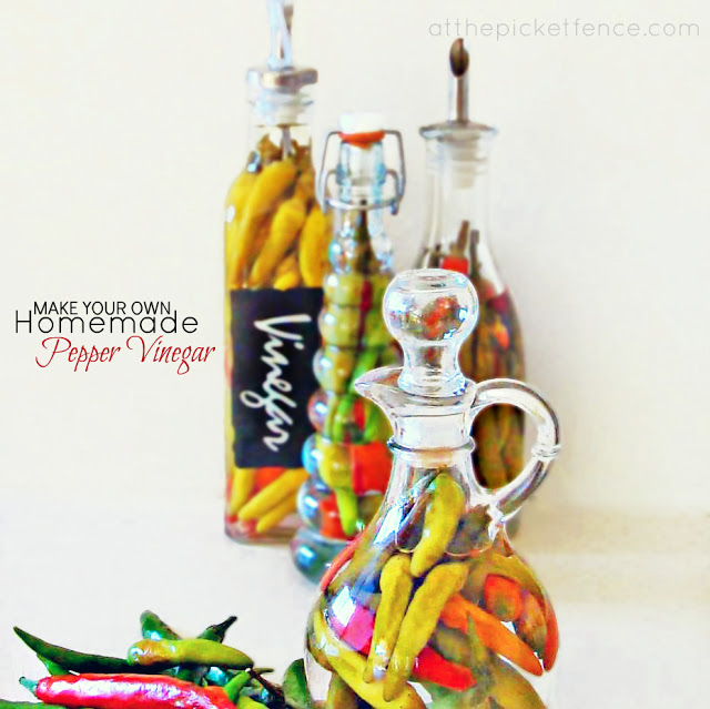 How to make homemade pepper vinegar from At The Picket Fence