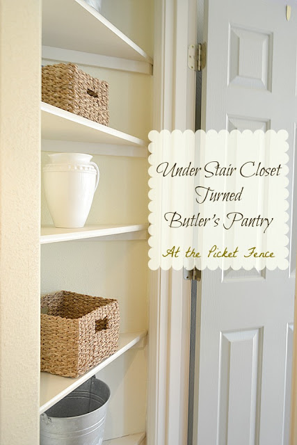 Under Stair Closet Turned Butler's Pantry from www.atthepicketfence.com