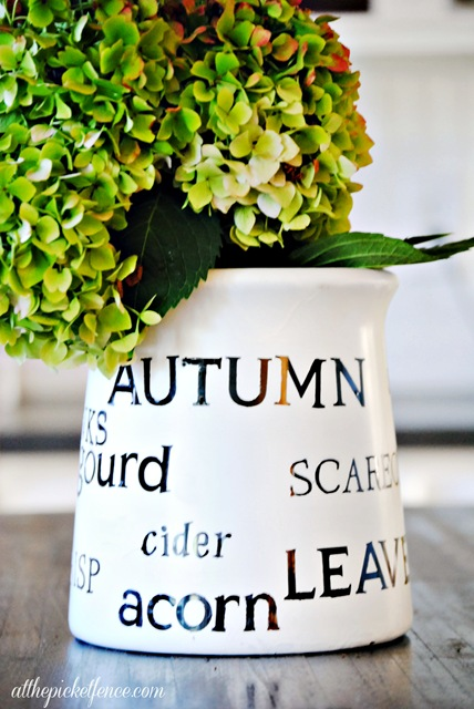 Stenciled Fall Jar…autumn words of change