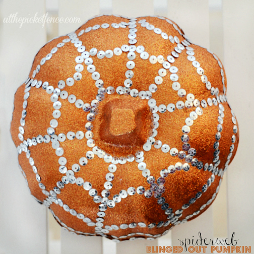 Sparkles make everything better! Spiderweb Blinged Out Pumpkin!