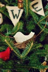 DIY Book Page Bird Ornament from At The Picket Fence and FOLK