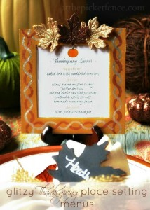 Glitzy Thanksgiving Place Setting Menus from At The Picket Fence and Krylon