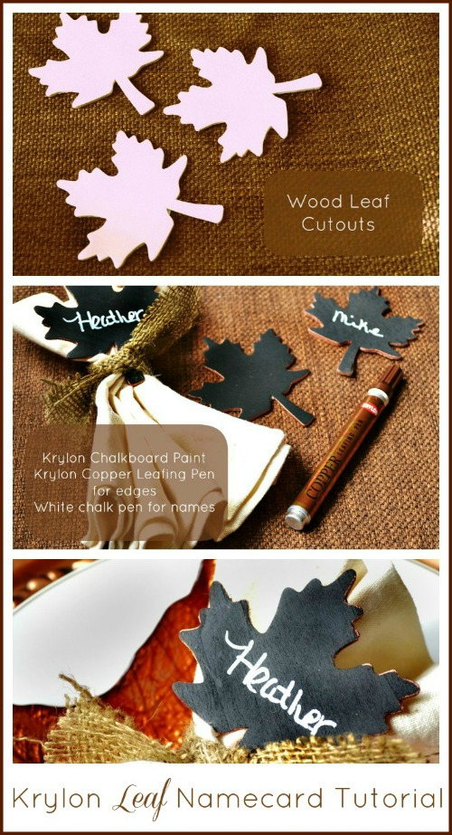 Chalkboard Leaf Name Card Tutorial from At The Picket Fence and Krylon