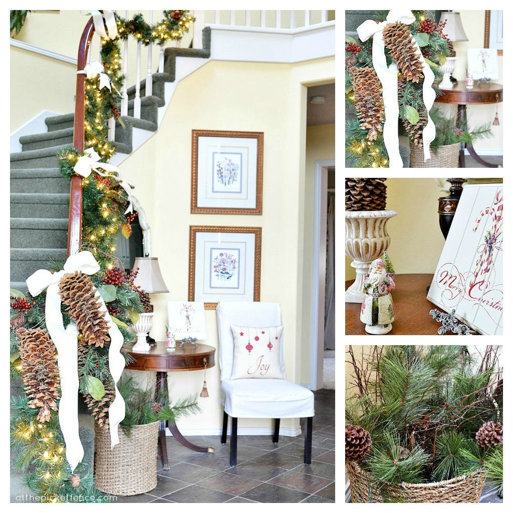 Decorating with pine cones on garland