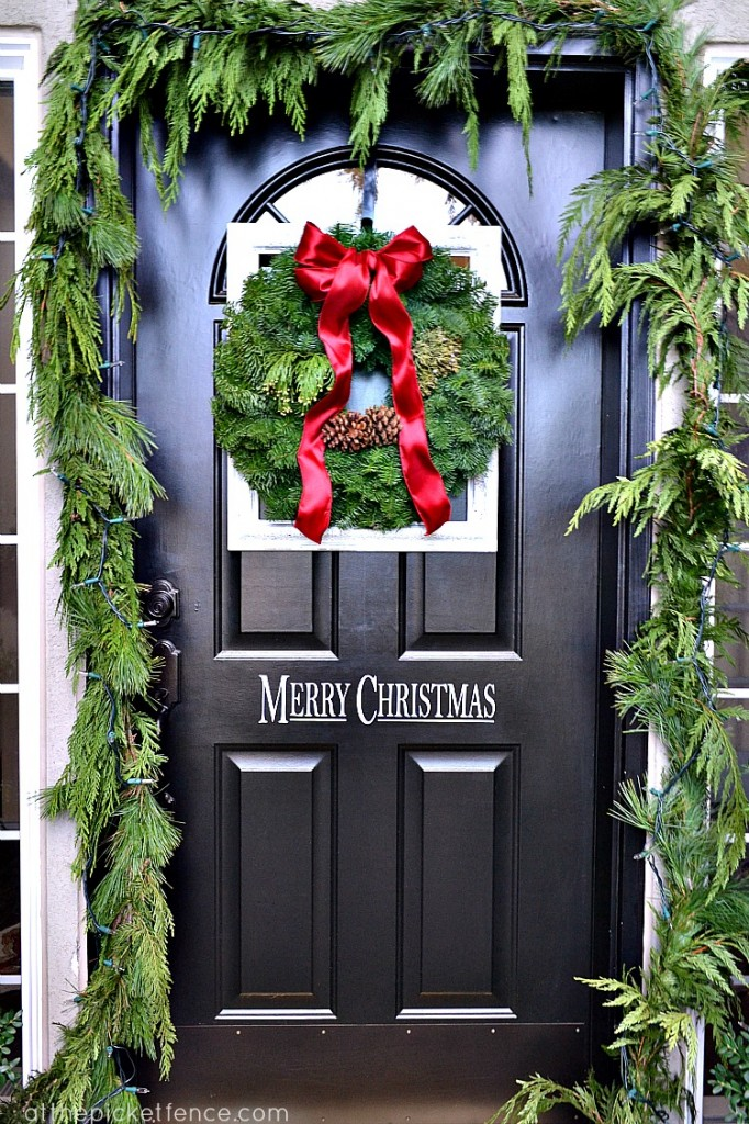 Framed Christmas Wreath and Front Porch Decor - At The ...