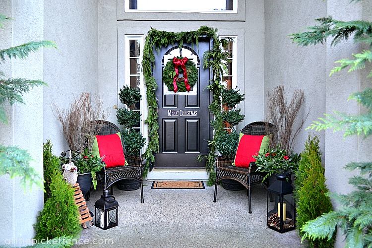 Christmas Front Porch framed christmas wreath and front porch decor - at the picket fence