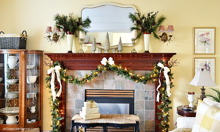 Traditional Christmas mantel At the Picket Fence