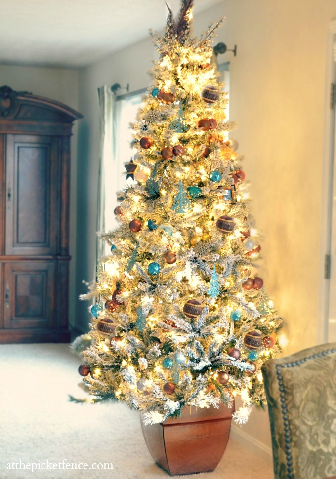 Flocked Blue and Brown Christmas Tree from At The Picket Fence