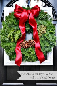 framed Christmas wreath at the picket fence