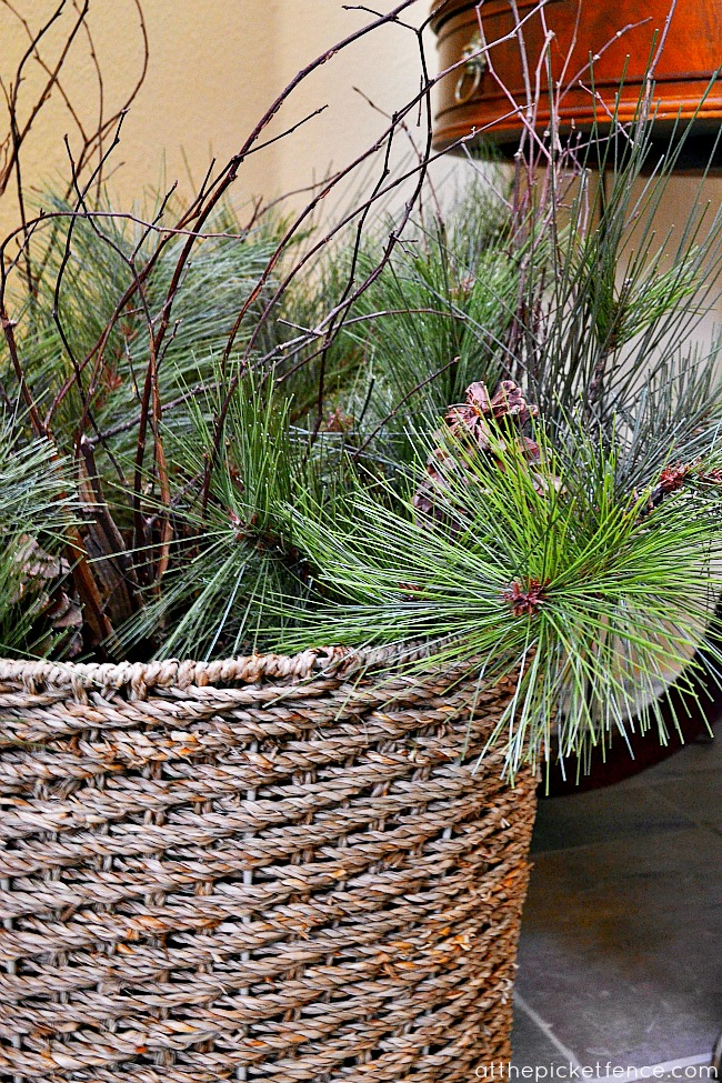 greenery in basket At the Picket Fence