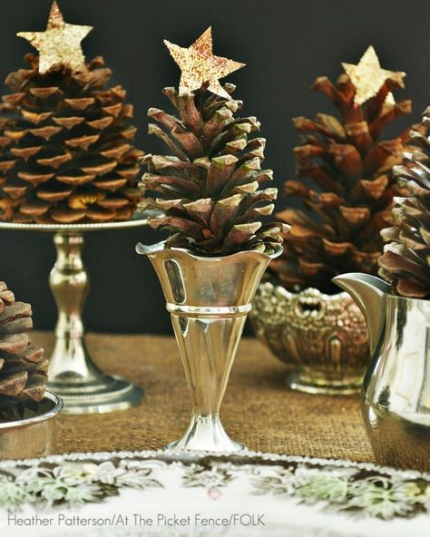 mini pine cone christmas trees in vintage silver