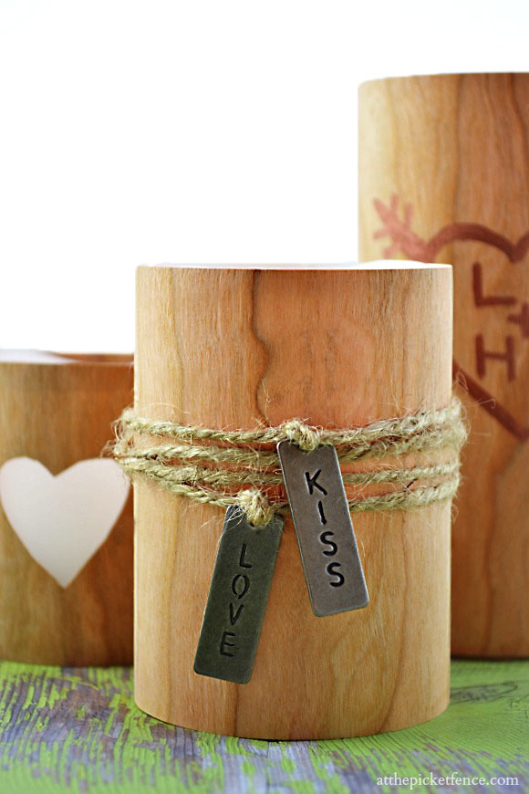 Faux Wood Candle Valentine's Day Candle from At The Picket Fence