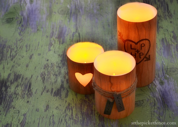 Faux Wood Valentine's Day Candles from At The Picket Fence