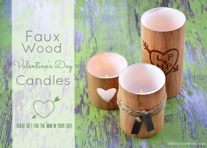 Faux Wood Valentine's Day Candles