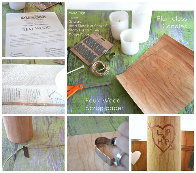 Faux Wood Valentine's Day Candles Tutorial from At The Picket Fence