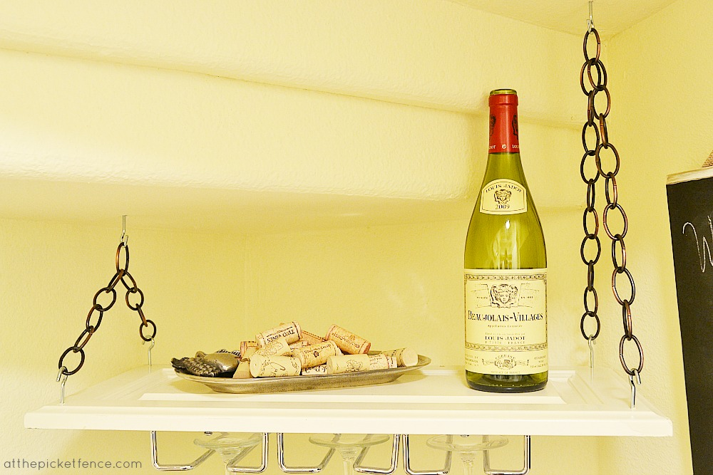 cabinet door to hanging wine rack