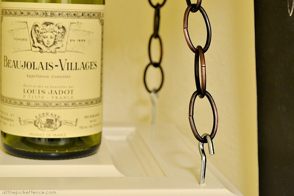 chain on hanging wine rack