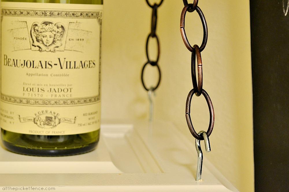 chain on hanging wine rack