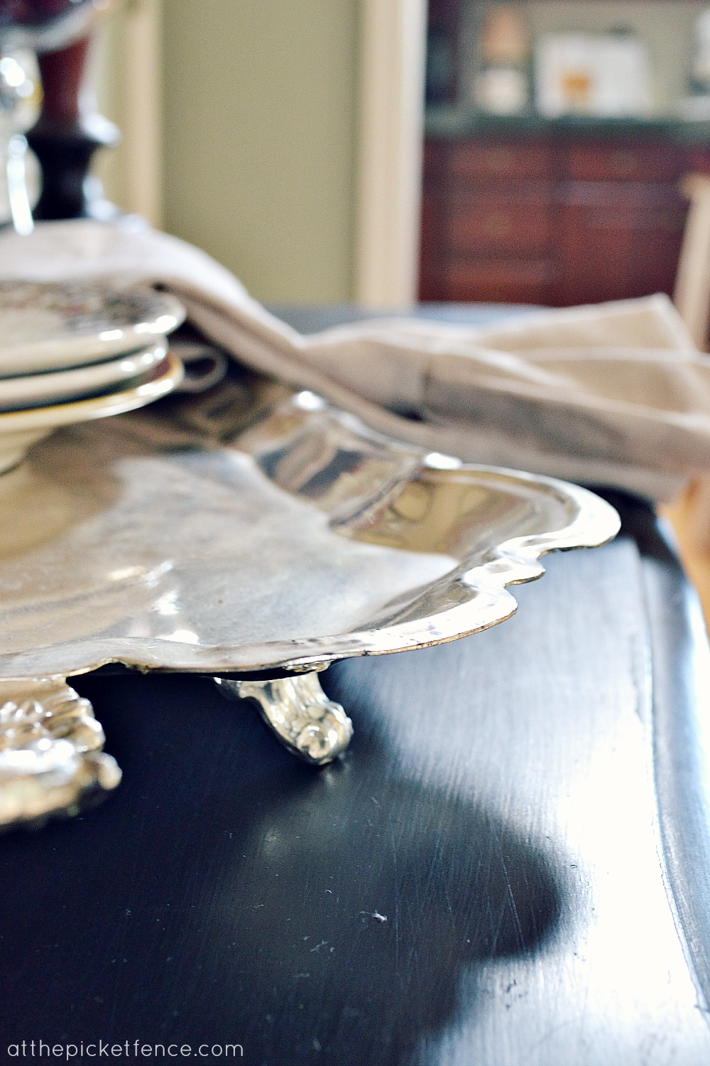 curved silver tray