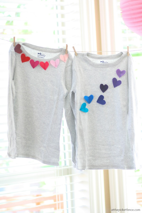 Felt heart applique shirts for Valentine's Day