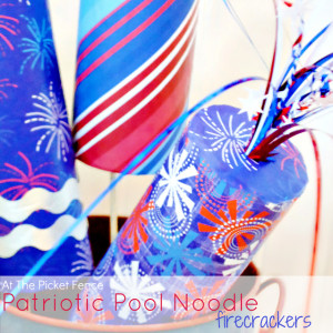 Patriotic Pool Noodle Firecrackers from At The Picket Fence