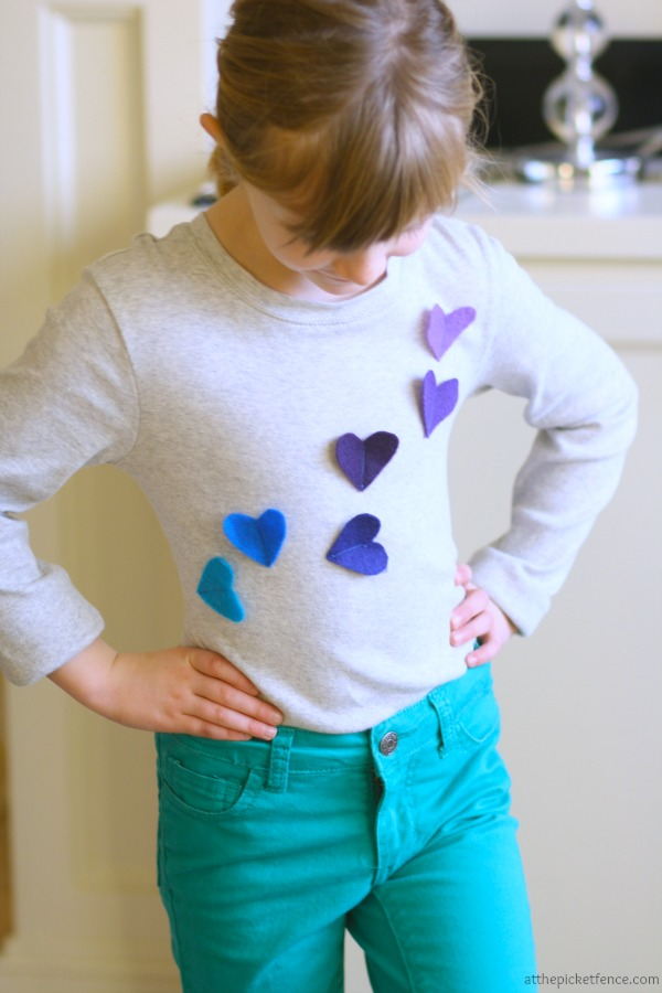 Adorable heart applique shirt