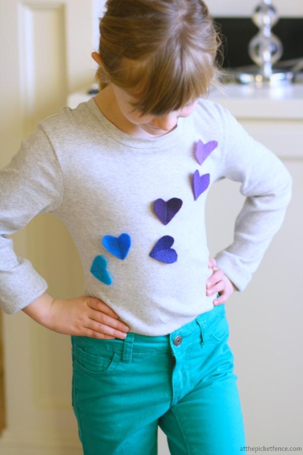 Adorable heart applique shirt