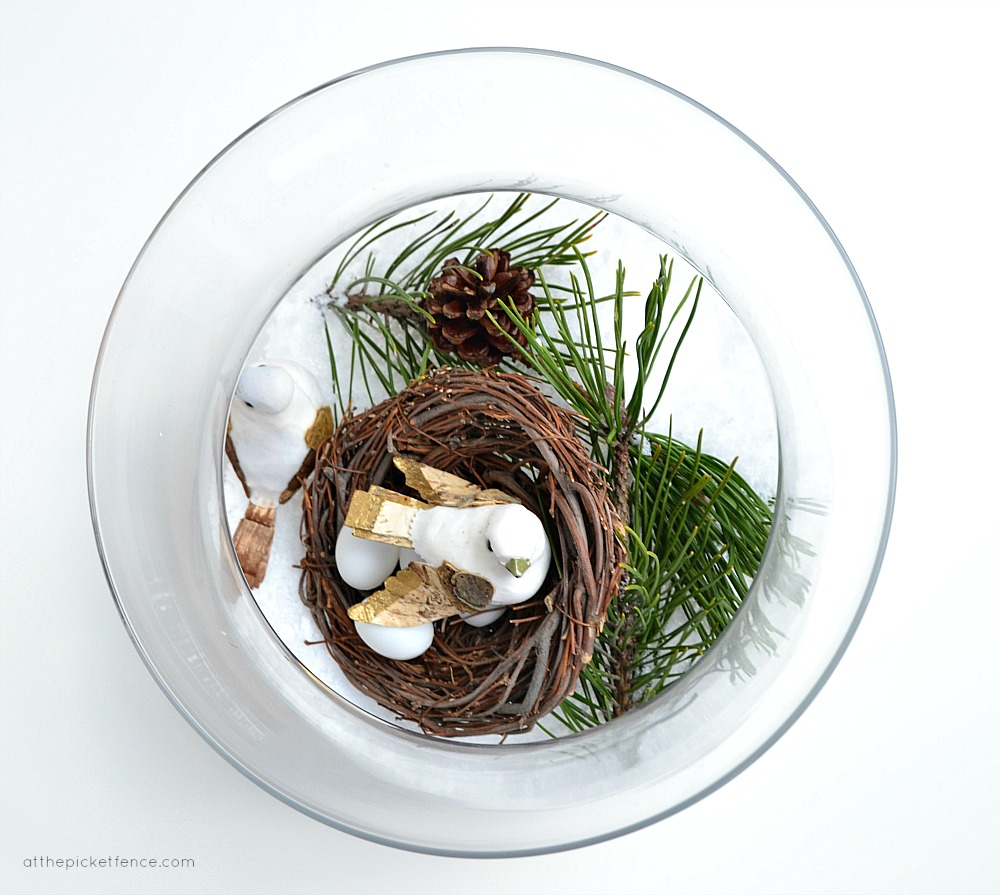winter bird scene in bowl