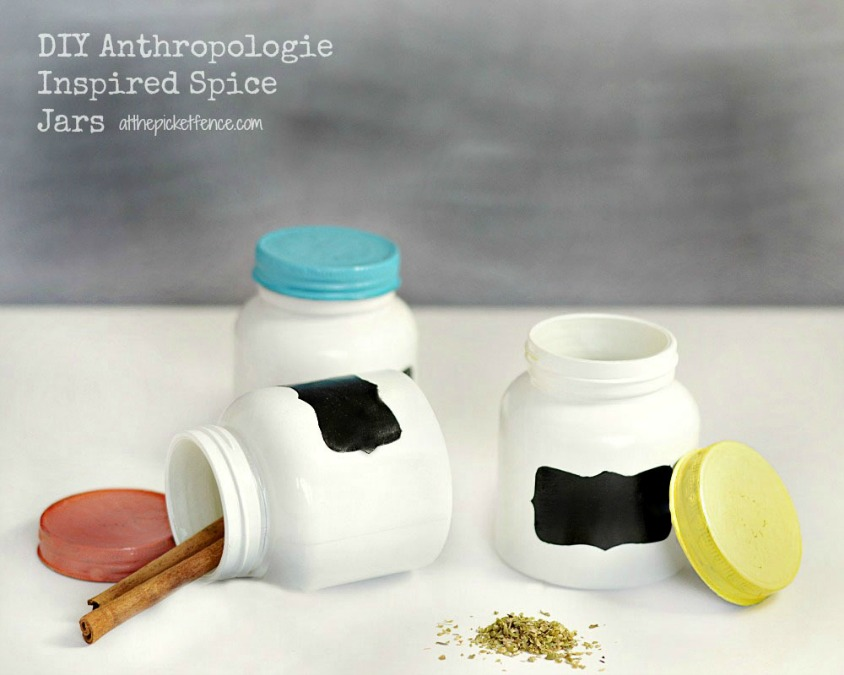 DIY Anthropologie Inspired Spice Jars from www.atthepicketfence.com