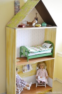 Bookcase turned American Girl Dollhouse At the Picket Fence