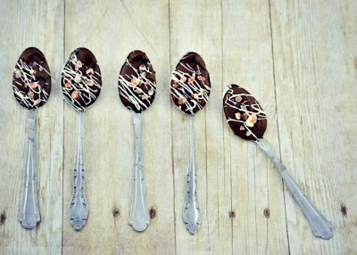 Chocolate and Pink Salt Dipping Spoons from At The Picket Fence