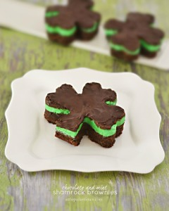 Chocolate and Mint Shamrock Brownies from At the Picket Fence