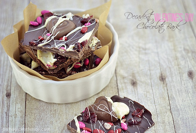 Decadent Valentines Day Chocolate Bark from At The Picket Fence