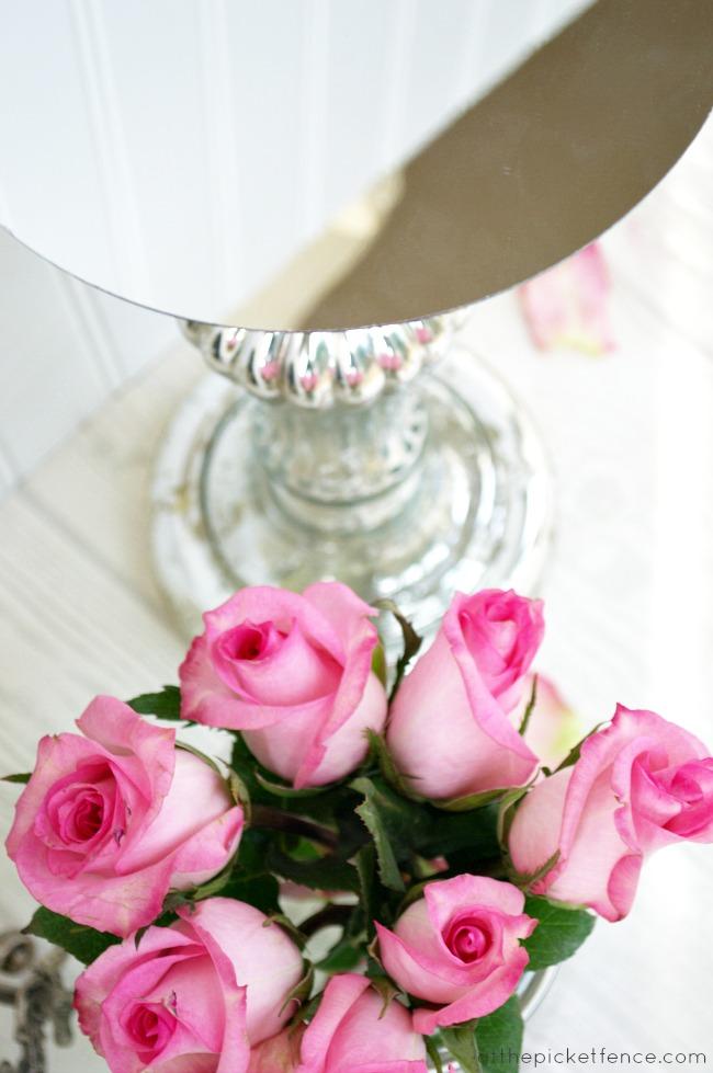 mirror on mercury glass candlestick