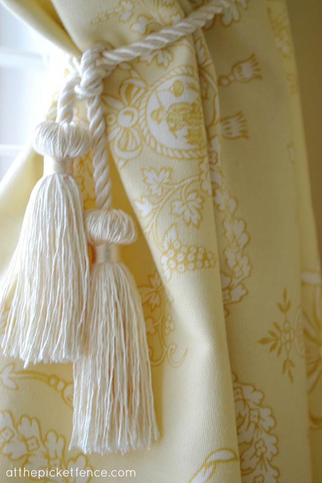 toile curtain tie back at the picket fence