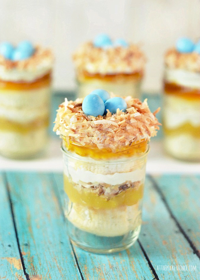 Bird's Nest Cupcakes in a Mason Jar from At The Picket Fence