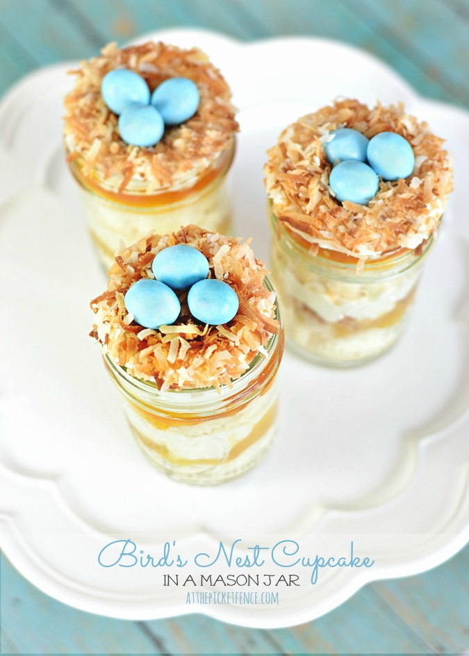 Bird's Nest Cupcakes in Mason Jars from At the Picket Fence