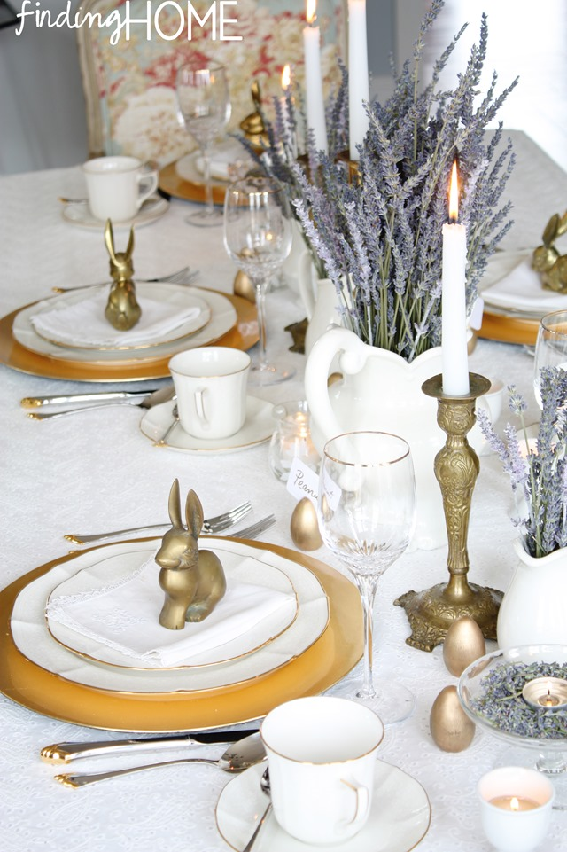 Brass and Lavender Easter Table Setting at Finding Home