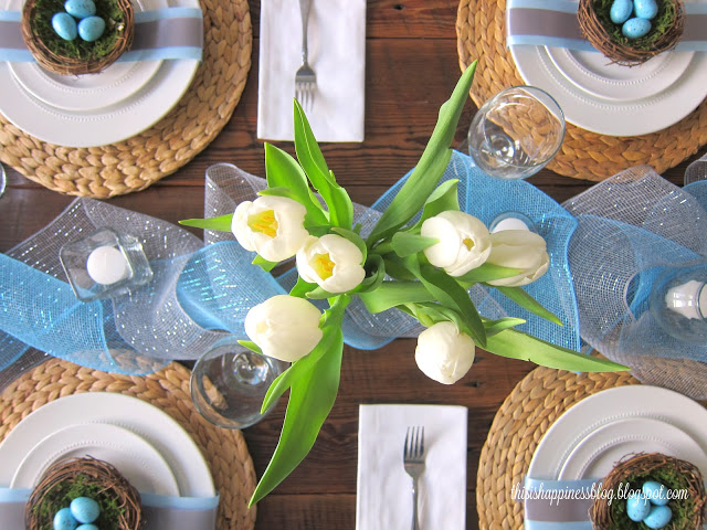 Robin's Egg Blue Easter Tablescape from This is Happiness