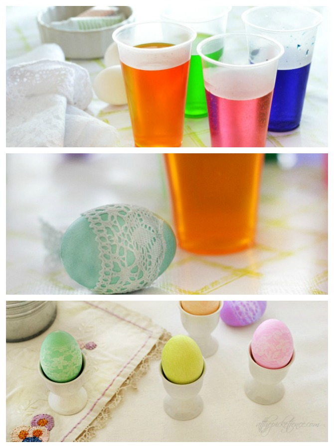 Lace Dyed Easter Eggs Tutorial from At The Picket Fence