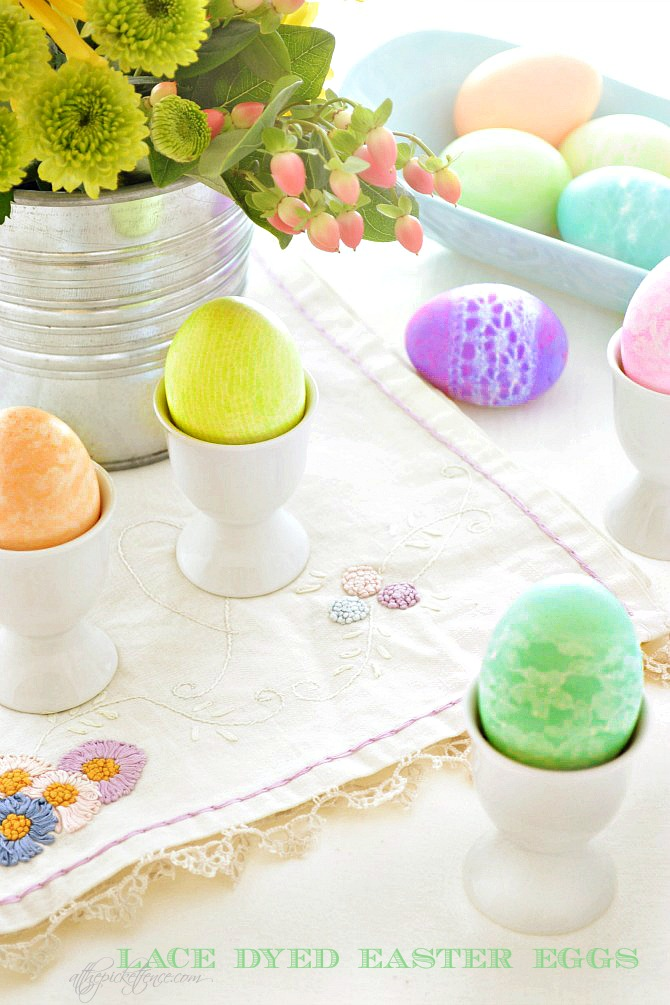 Lace Dyed Easter Eggs from At The Picket Fence