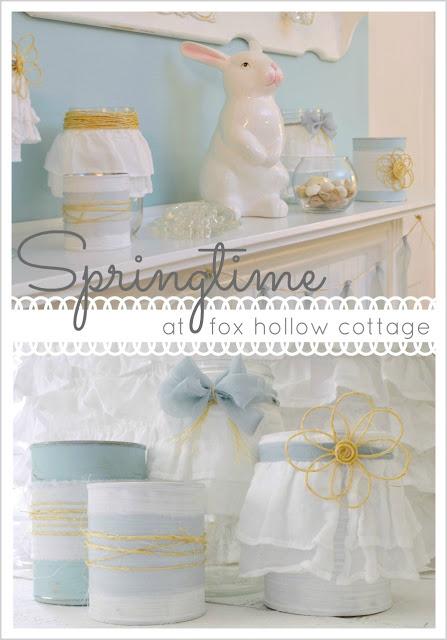 Spring Easter Mantel Romatic Shabby Aqua Decorating