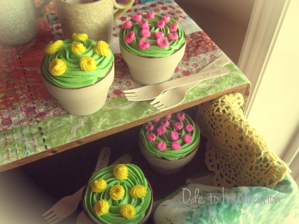 Spring Flower Pot Cakes from Ode to Inspiration