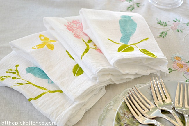 Stenciled spring napkins At the Picket Fence